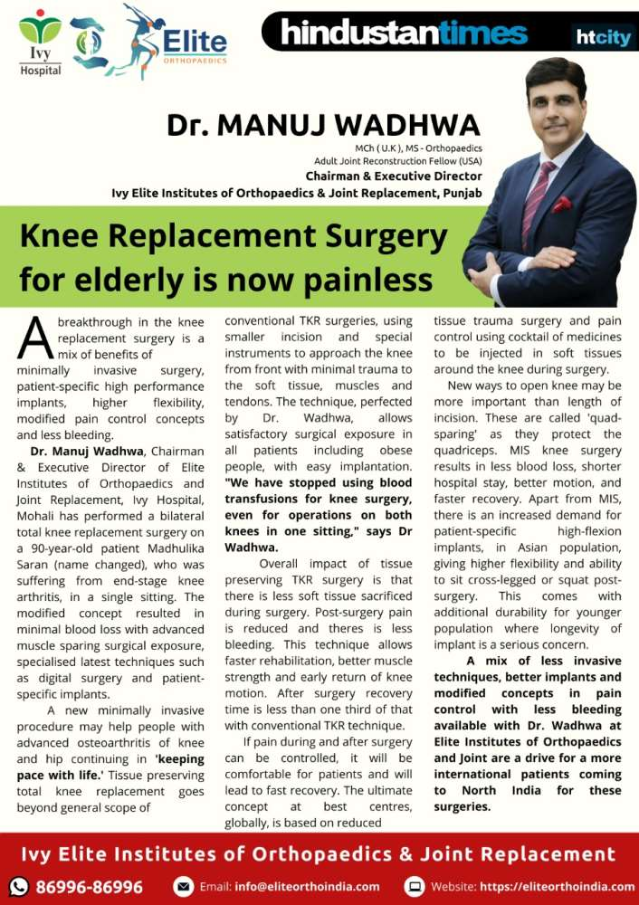 Knee Replacement Surgery for elderly is now painless