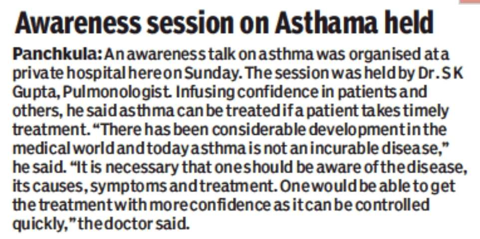 Dr SK Gupta article on Asthma