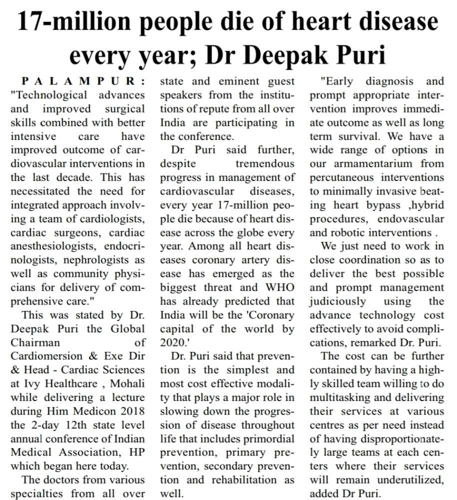 Coverage updates of Dr Puri lecture at HIM MEDICON, Palampur